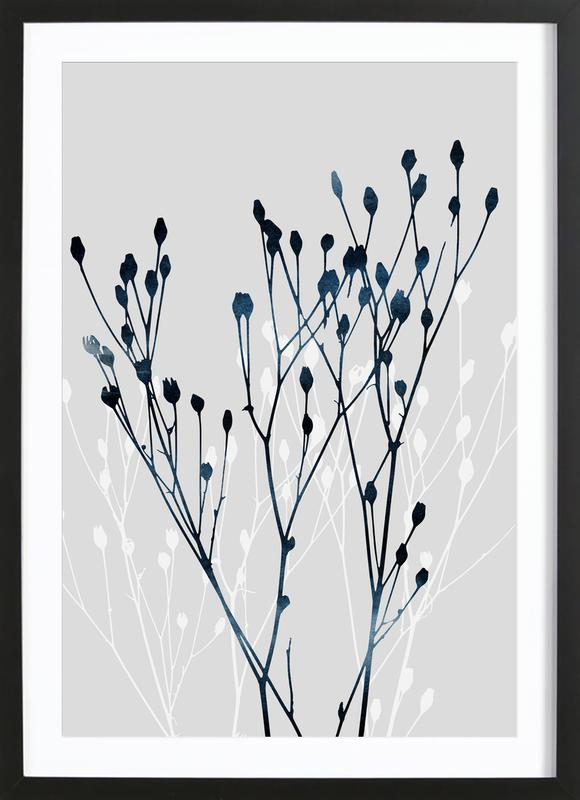 Watercolor Leaves 12 -Bild mit Holzrahmen