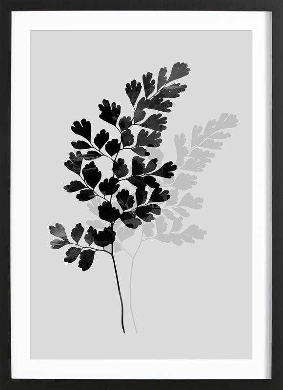 Watercolor Leaves 14 -Bild mit Holzrahmen