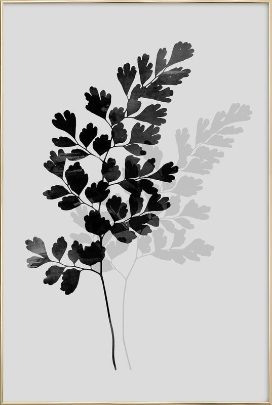 Watercolor Leaves 14 poster in aluminium lijst