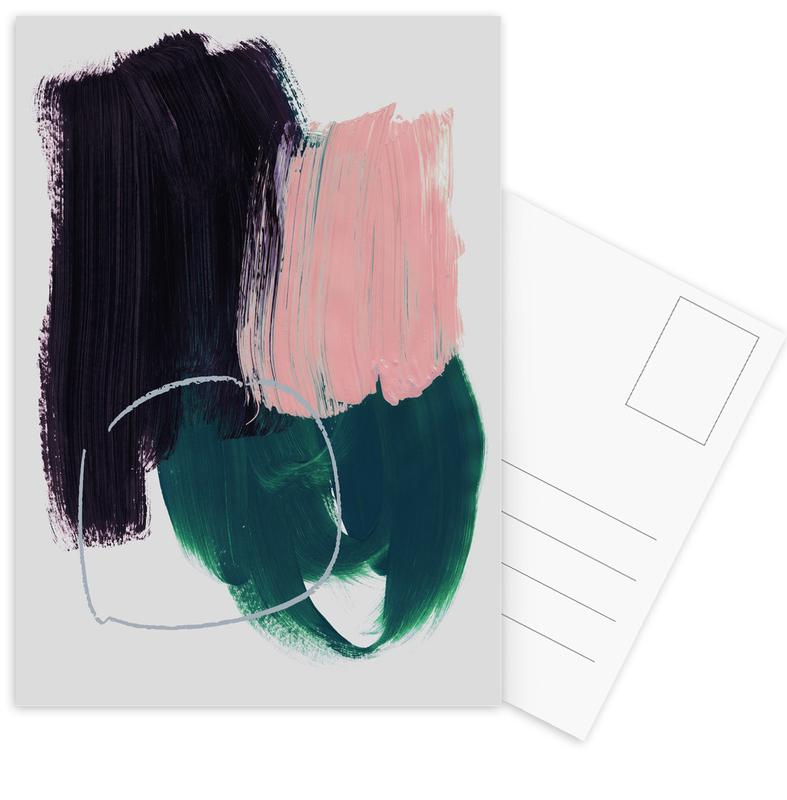 Abstract Brush Strokes 10 Postcard Set