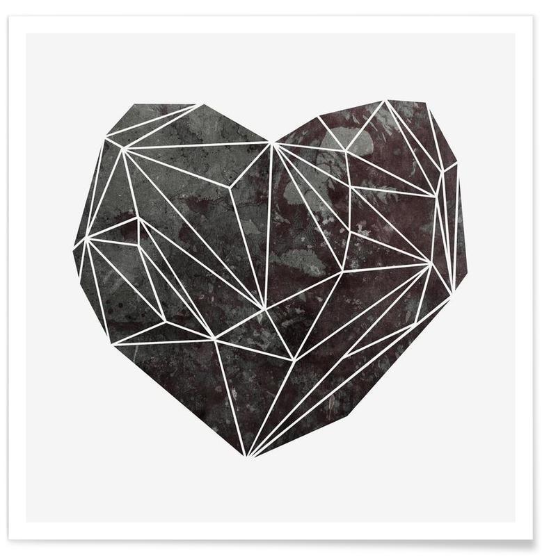 Noir & blanc, Cœurs, Heart Graphic 4 affiche