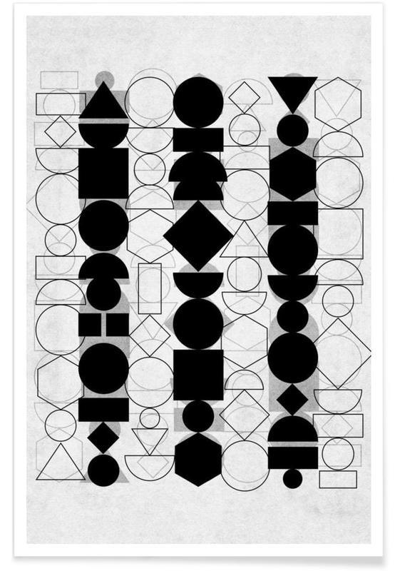 Noir & blanc, Geometry 6 affiche