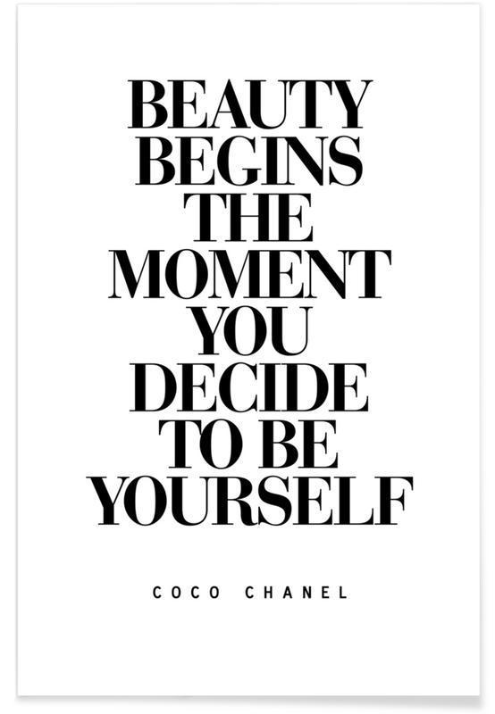 Noir & blanc, Citations et slogans, Motivation, « Beauty Begins », citation de Coco Chanel affiche