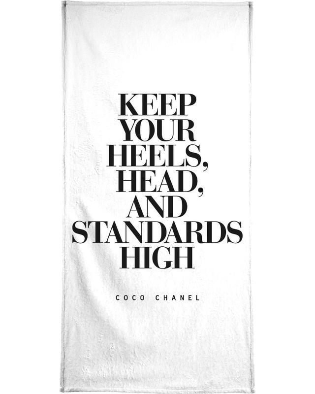 Zwart en wit, Quotes en slogans, Motivatie, Keep Your Heels strandlaken