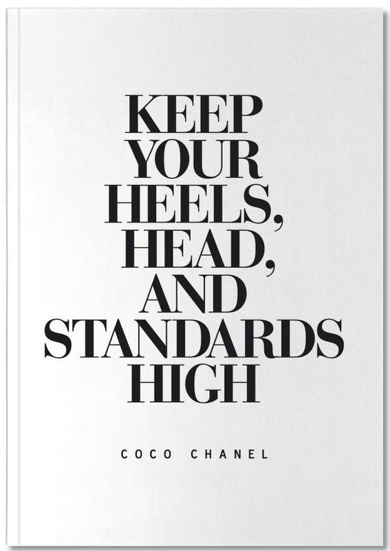 Black & White, Quotes & Slogans, Motivational, Keep Your Heels Notebook