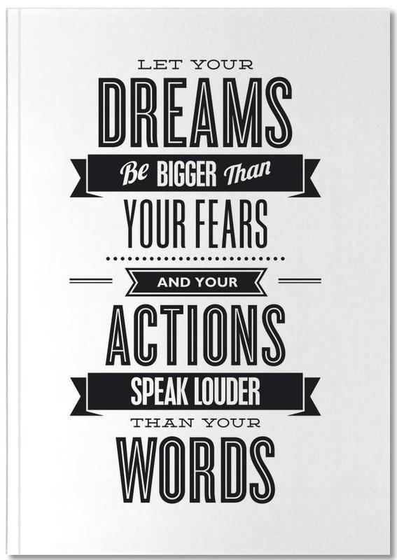 Black & White, Motivational, Quotes & Slogans, Let Your Dreams Notebook