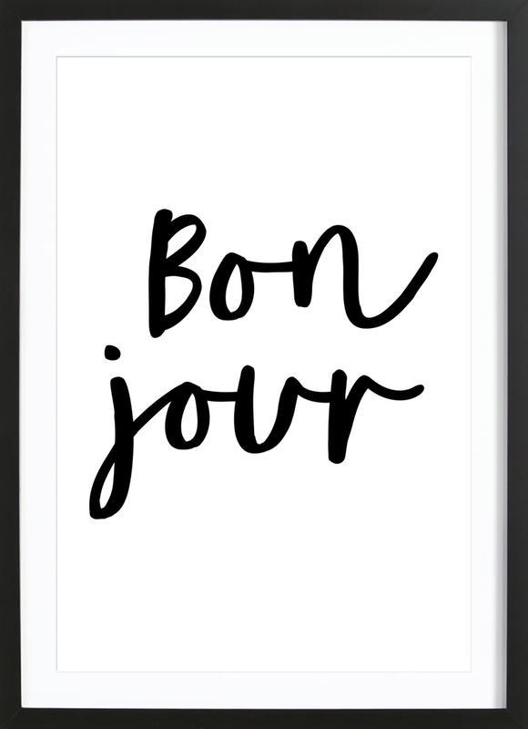 Bonjour -Bild mit Holzrahmen