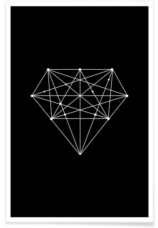 Zwart en wit, Symbolen, Trouwen en bruiloften, Diamond poster