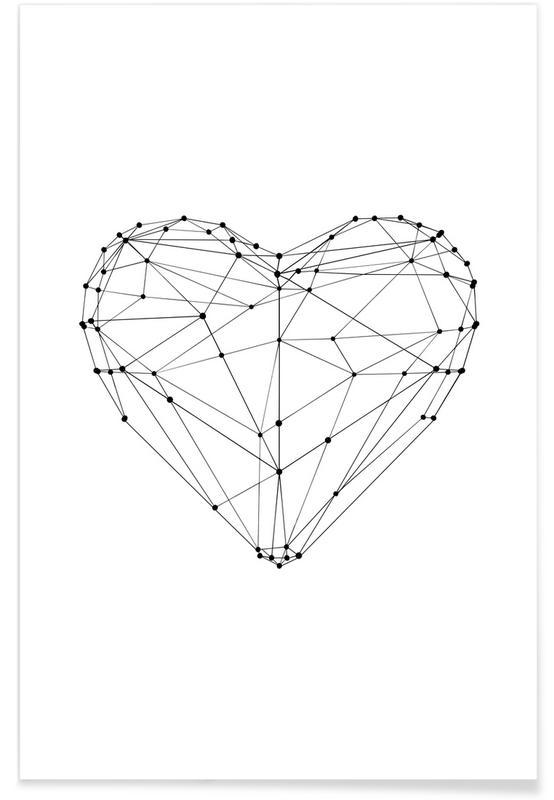 Fête des mères, Noir & blanc, Anniversaires de mariage et amour, Saint-Valentin, Geo Heart affiche