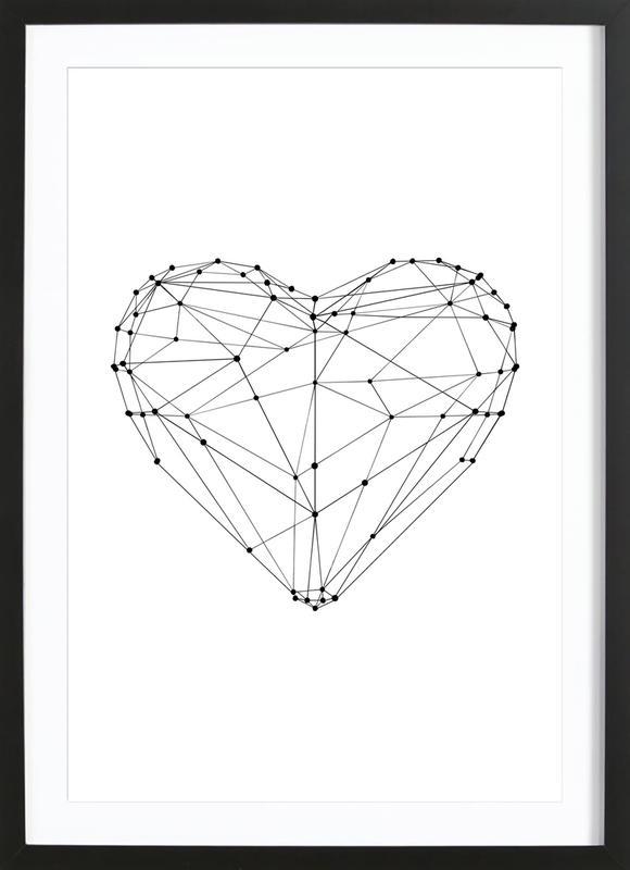 Geo Heart -Bild mit Holzrahmen