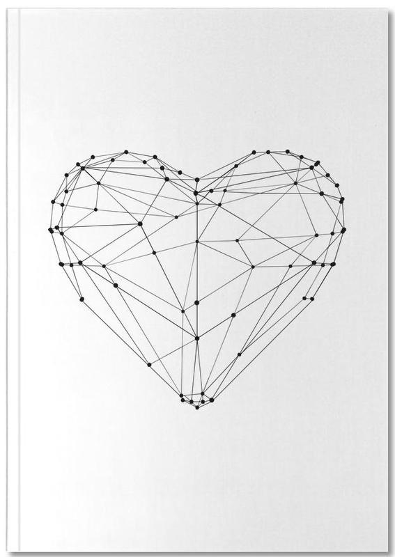 Noir & blanc, Fête des mères, Saint-Valentin, Anniversaires de mariage et amour, Geo Heart Notebook