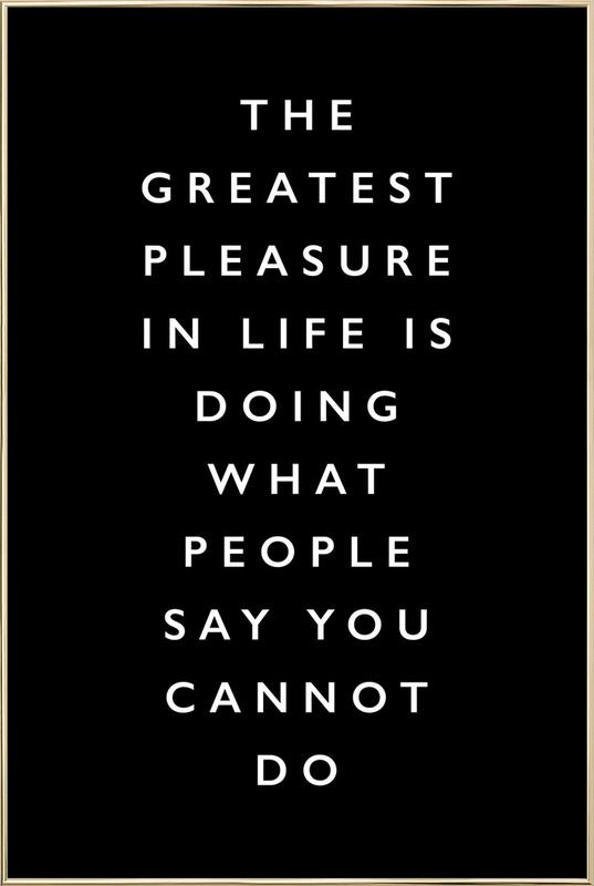 The Greatest Pleasure in Life Is Doing What People Say You Cannot Do affiche sous cadre en aluminium