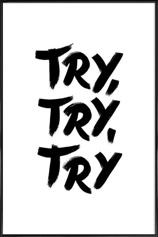 Try Try Try -Bild mit Kunststoffrahmen