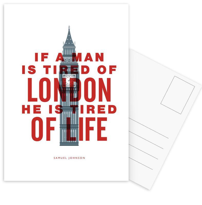 Zitate & Slogans, London, Lustig, If A Man Is Tired Of London -Postkartenset
