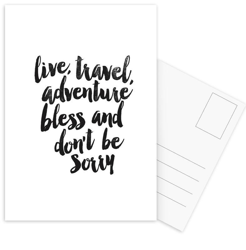 Black & White, Motivational, Quotes & Slogans, Live Travel Adventures Postcard Set