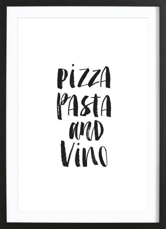 Pizza Pasta And Vino ingelijste print