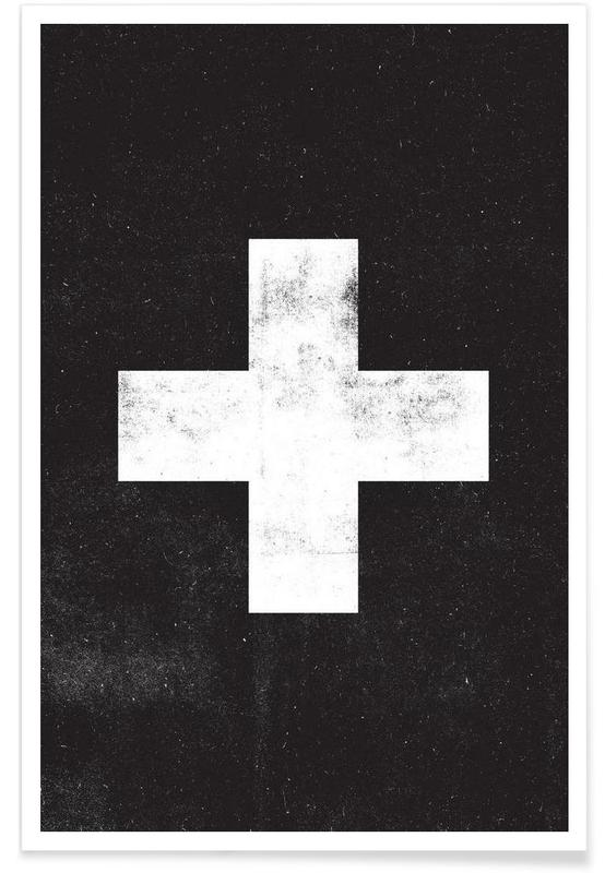 Schwarz & Weiß, Symbole, Swiss Cross Black -Poster