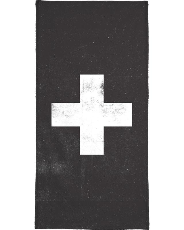 Schwarz & Weiß, Symbole, Swiss Cross Black -Handtuch