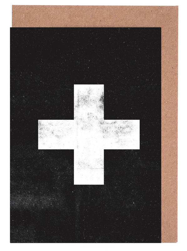 Swiss Cross Black Greeting Card Set