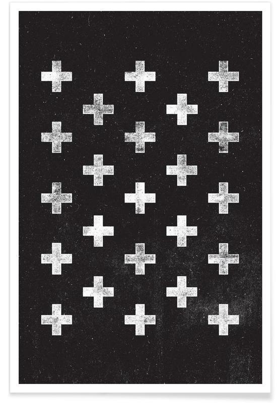 Zwart en wit, Symbolen, Swiss Cross Pattern poster
