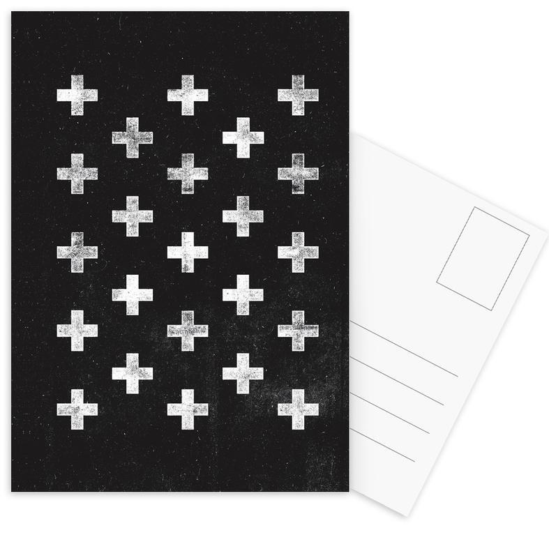 Black & White, Symbols, Swiss Cross Pattern Postcard Set