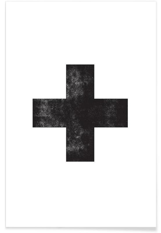 Zwart en wit, Symbolen, Swiss Cross White poster