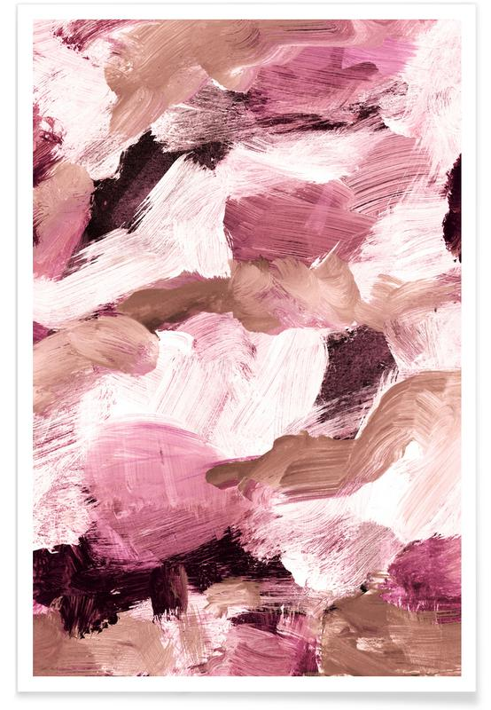Bruin en Roze - abstract poster