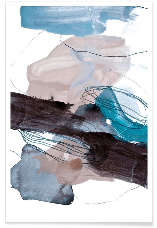 Blauw en Grijs - abstract poster