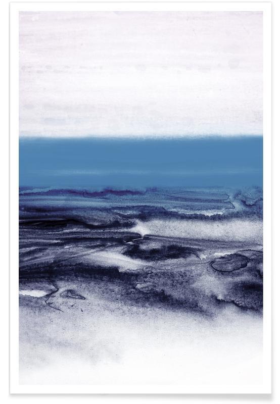 Blauw Landschap - abstract poster