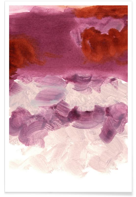 Paars en Rood - abstract poster
