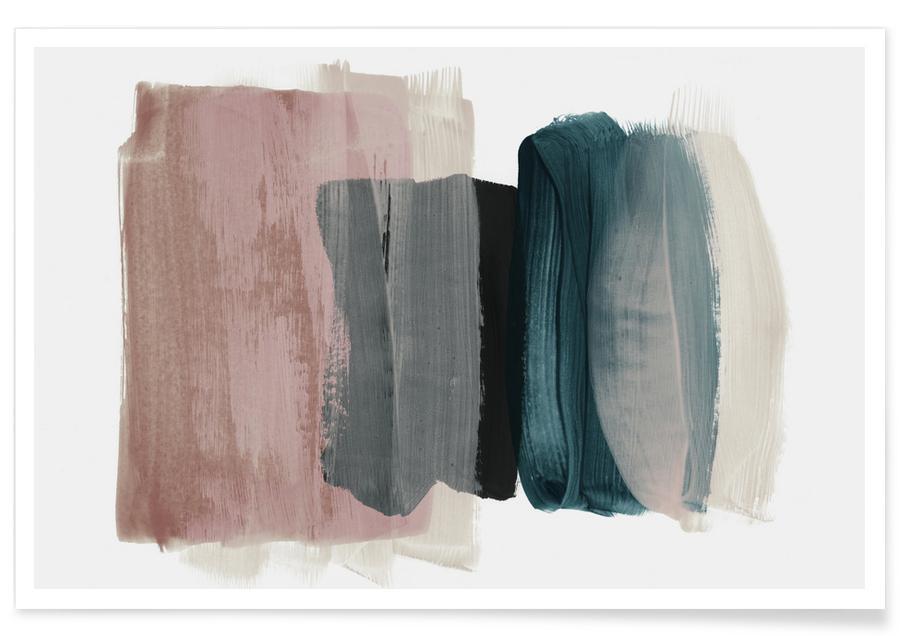 , Minimalism Pink and Blue Plakat