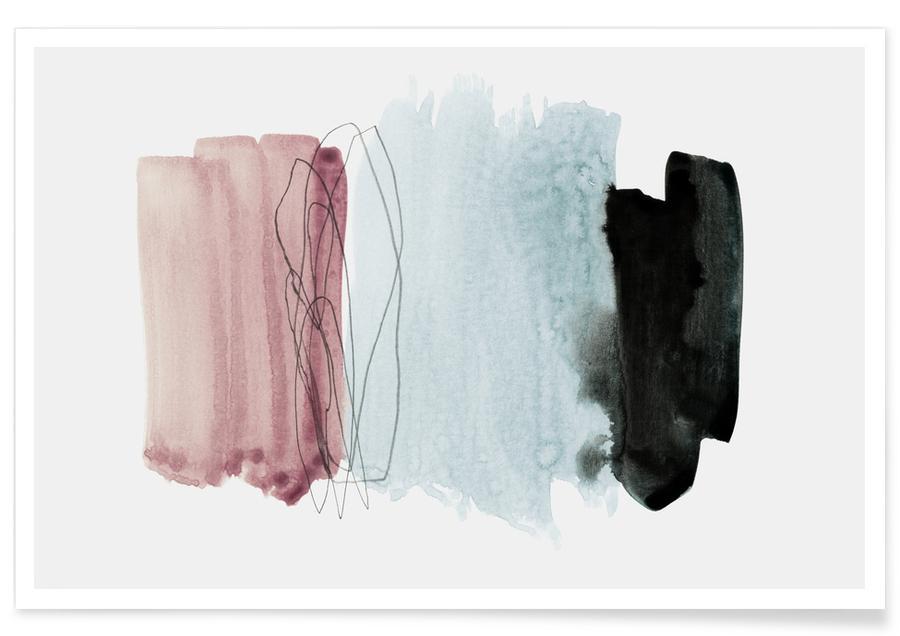 Minimalisme Rose et Gris - Abstrait affiche