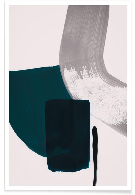 Minimalisme Sarcelle et Gris - Abstrait affiche