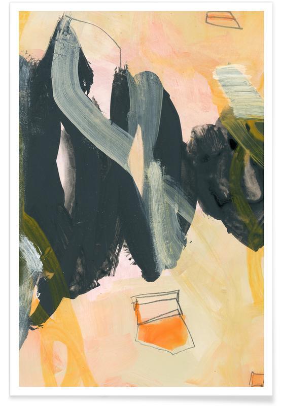 Zwart en oranje - abstract poster
