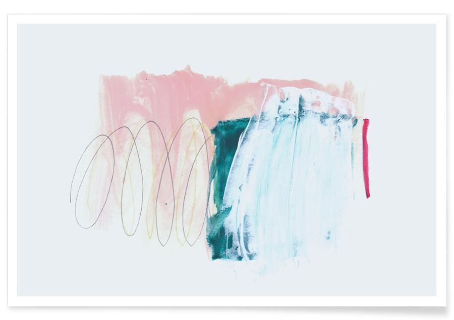 Roze en groen - abstract poster