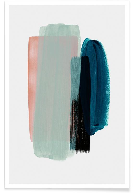 , Art abstrait rose et bleu-vert affiche