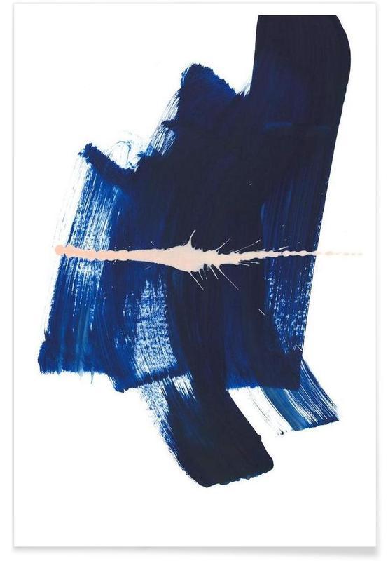 , Art abstrait bleu foncé affiche