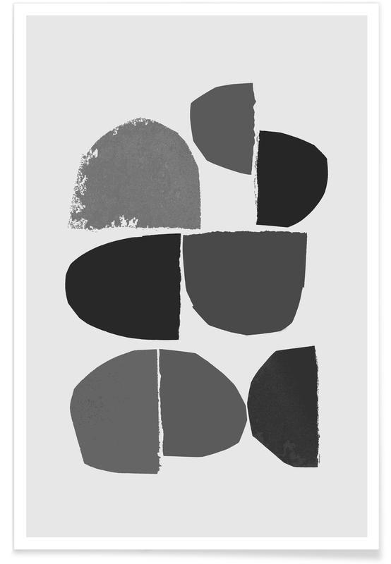 Abstract Landscapes, Minimalist Collage Bw Poster