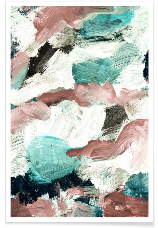 Abstract Painting VI Green Dusty Pink poster