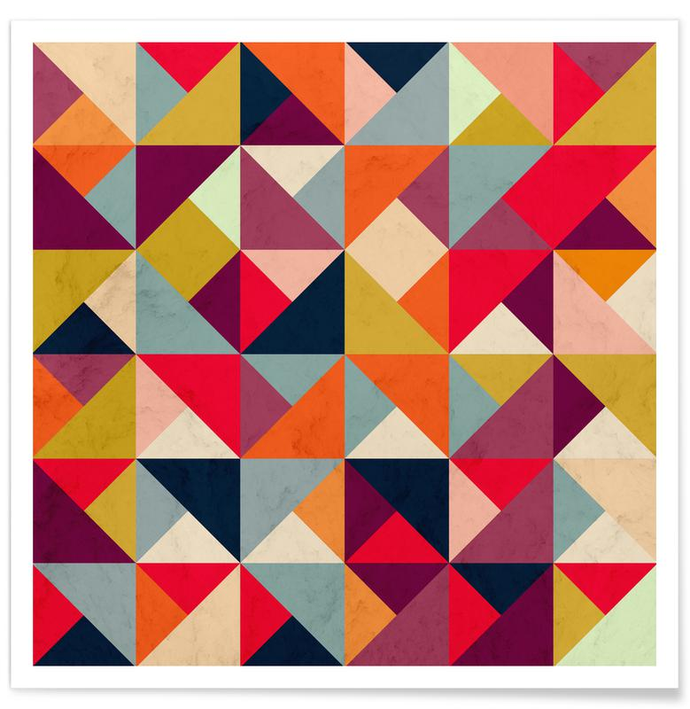 Bright Geometric Happy Pattern Poster