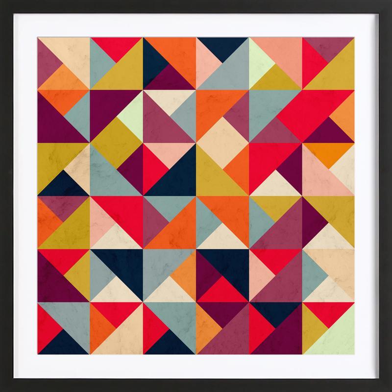 Bright Geometric Happy Pattern Framed Print