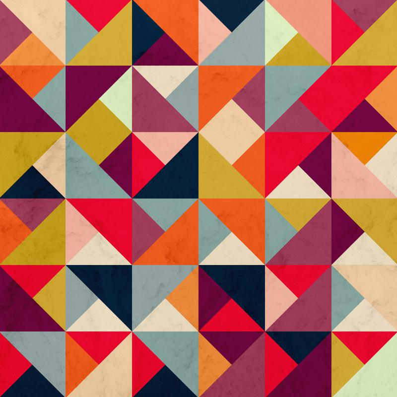 Bright Geometric Happy Pattern Impression sur alu-Dibond
