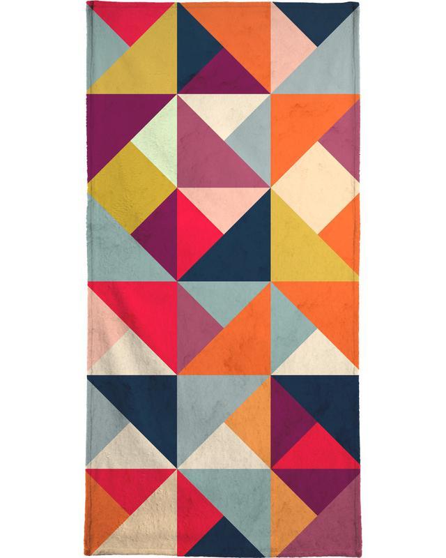 Bright Geometric Happy Pattern -Strandtuch