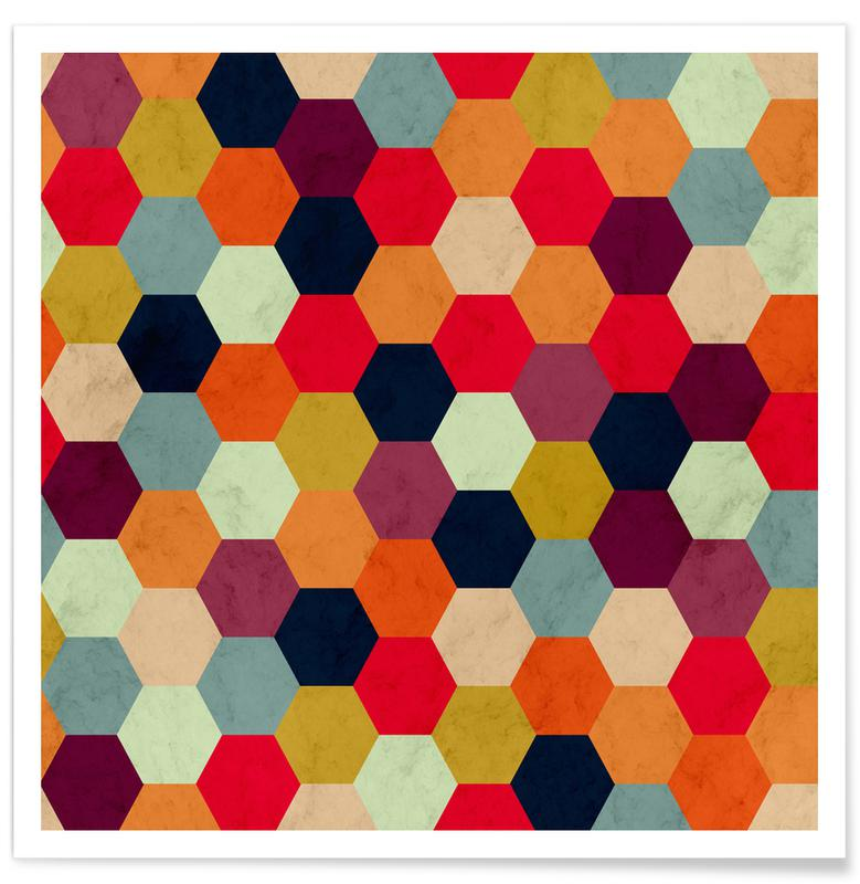 Colorful Beehive Pattern poster