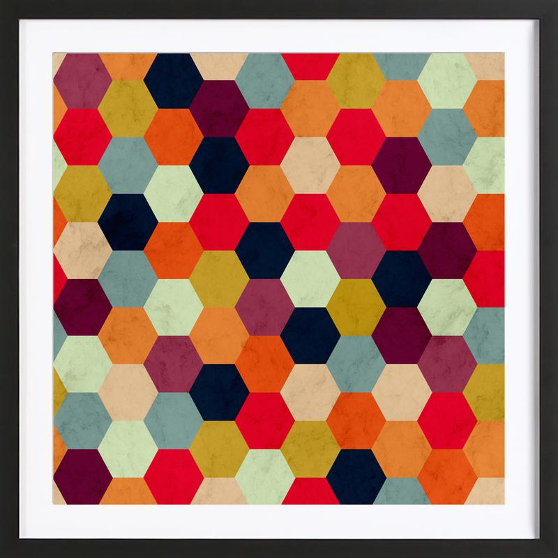 Colorful Beehive Pattern Framed Print
