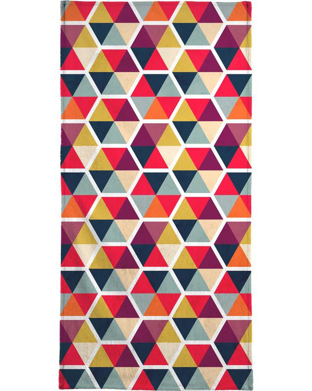 Colorful Umbrellas Geometric Pattern Beach Towel