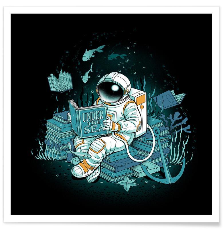 Astronautes, Art pour enfants, A reader lives a thousand lives - Cosmonaut Under The Sea affiche