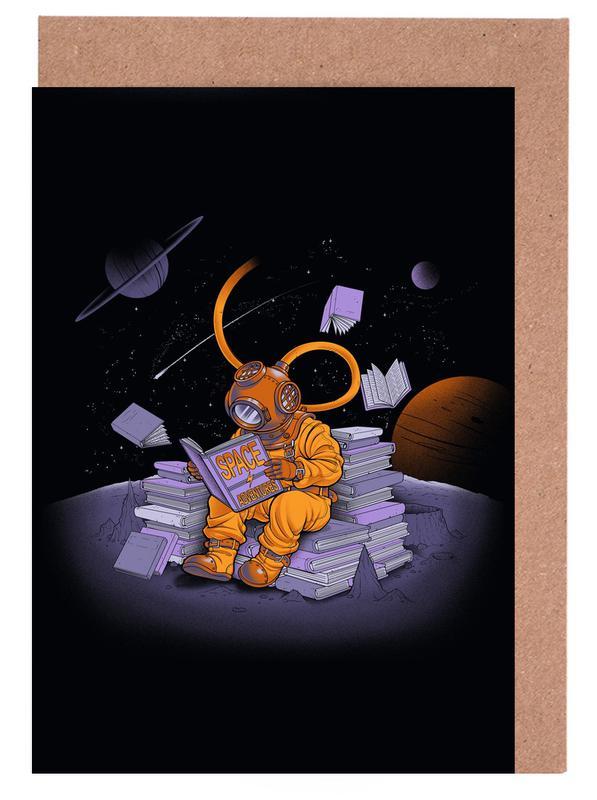 Astronauten, Kinderzimmer & Kunst für Kinder, A reader lives a thousand lives - Diving Dress Space Adventures -Grußkarten-Set