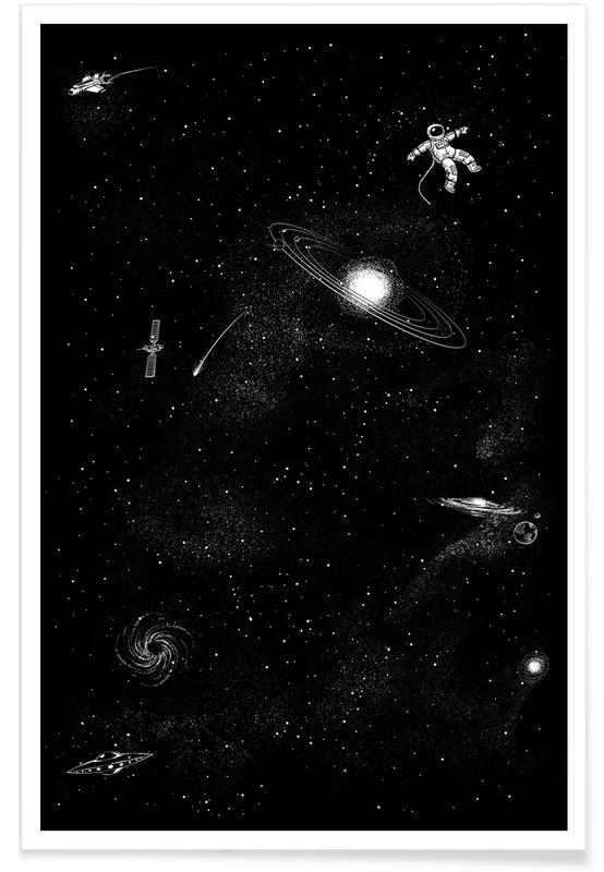 Astronauts, Black & White, Nursery & Art for Kids, Gravity 3.0 Poster