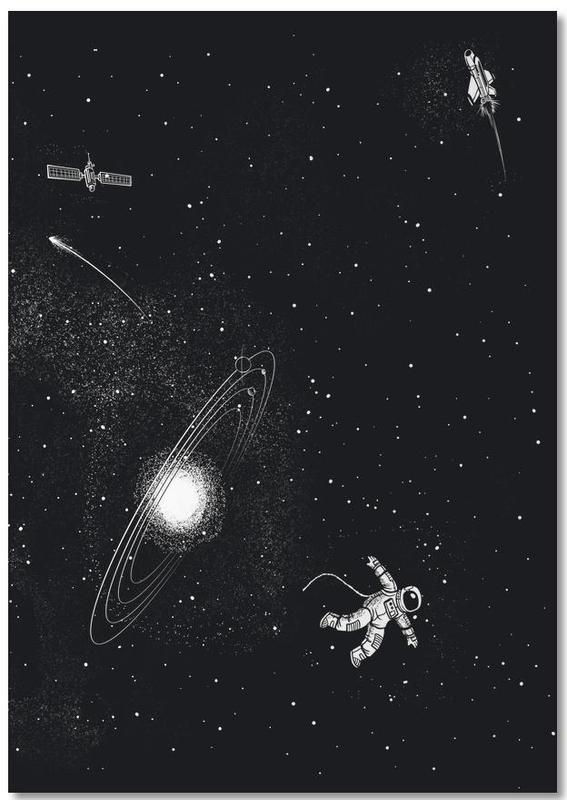 Astronauts, Black & White, Nursery & Art for Kids, Gravity 3.0 Notebook